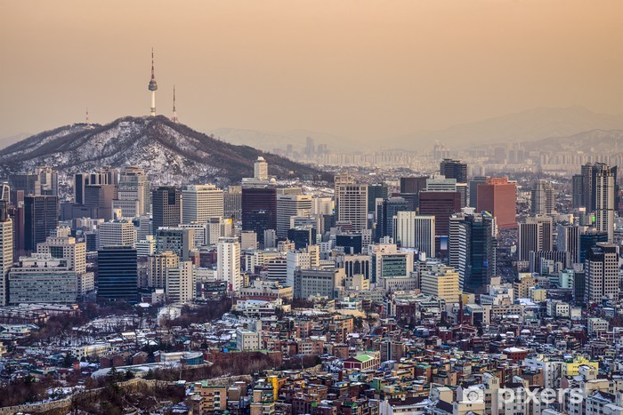 Vinyl-Fototapete Seoul, Südkorea Skyline - Themen