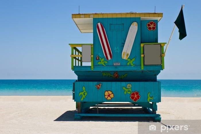 South Beach lifeguard hut in Miami, Florida Pixerstick Sticker - Holidays