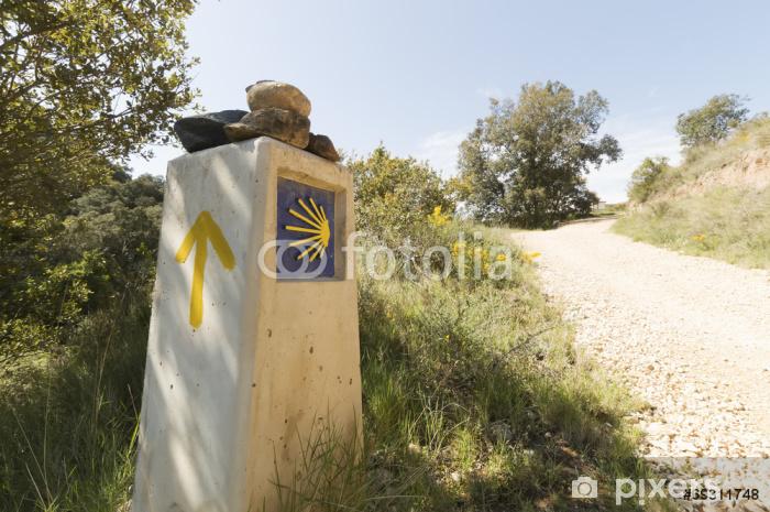 Vinyl Fotobehang Pelgrim teken aan de Camino de Santiago de Compostela in Spanje - Onderweg