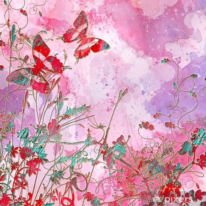 Carta Da Parati Rosa Sfondo Artistico Con Farfalle Pixers