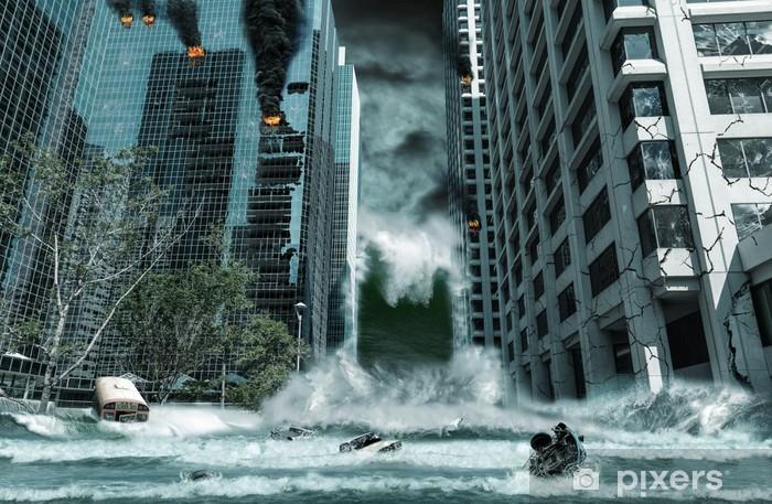 Vinyl Fotobehang Stad verwoest door de tsunami - Het Leven