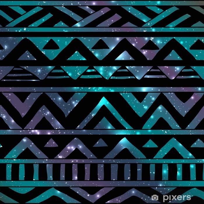 Fototapet av vinyl Aztec Tribal sømløs mønster på kosmisk bakgrunn - Boho
