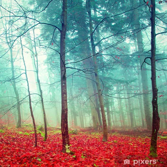 Sticker Pixerstick Arbres colorés d'automne mystiques - Destin