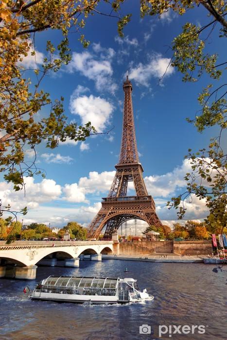 Eiffel Tower with boat on Seine in Paris, France Pixerstick Sticker - Themes