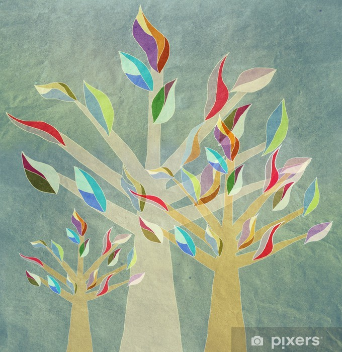 Vinilo Para Armario árboles Genealógicos Con Hojas De Colores La