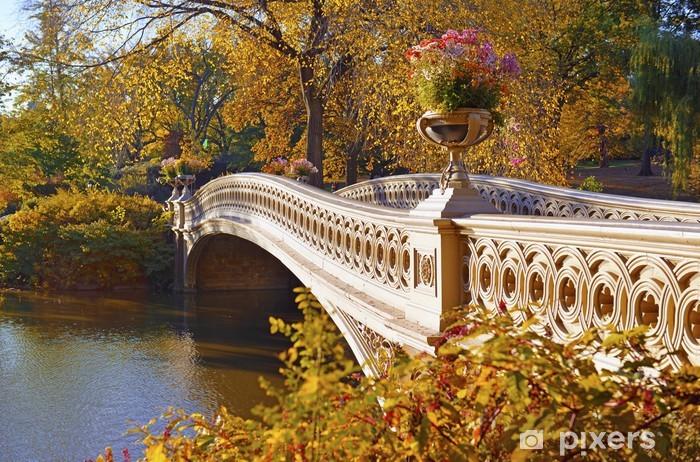 Pixerstick Sticker Kleuren van de herfst - bladeren vallen in Central Park, Manhattan, New York - Amerikaanse steden