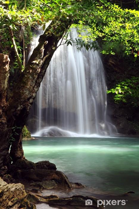 Waterfall in forest of Thailand, Erawan waterfall at Kanchanabur Vinyl Wall Mural - Themes