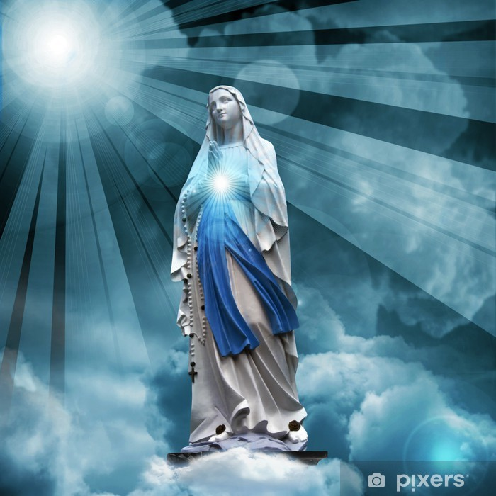 Madonna statue with blue sky and clouds background Washable Wall Mural - Backgrounds