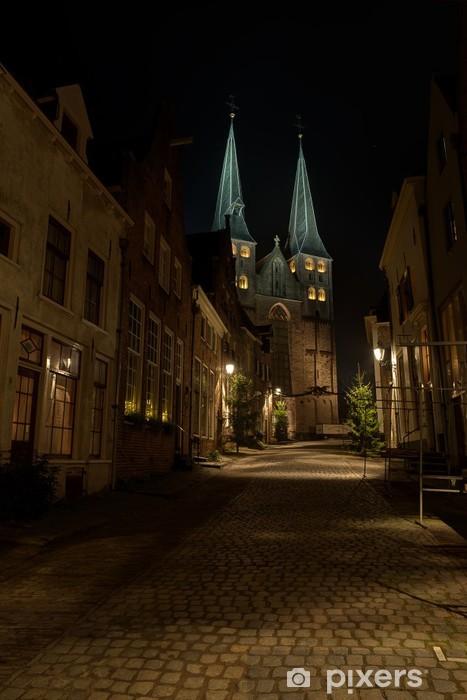 Vinyl Fotobehang Deventer Bergkerk bij nacht - Openbare Gebouwen