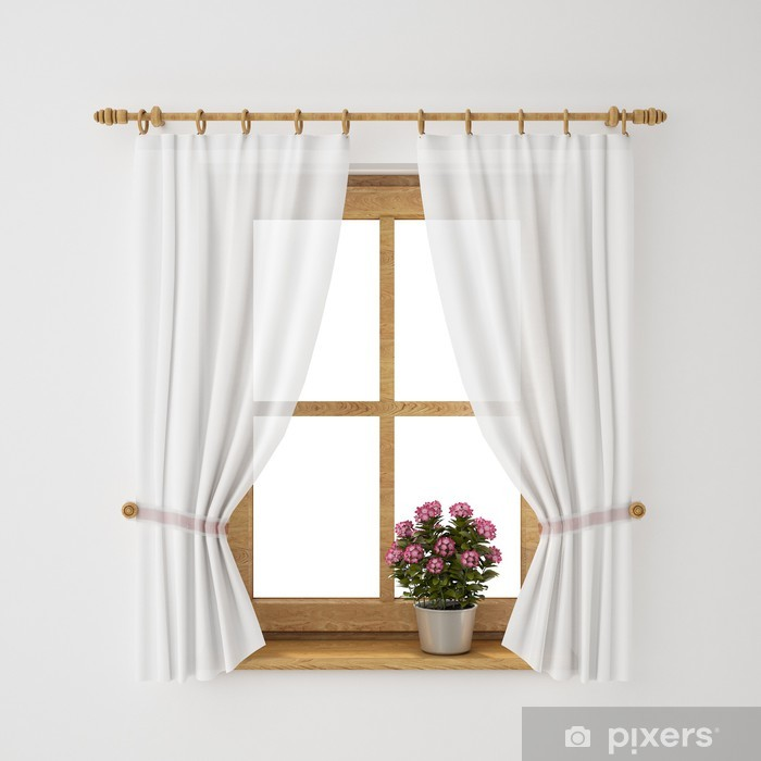 vintage wooden window frame with curtain and flowerpot Vinyl Wall Mural - Themes
