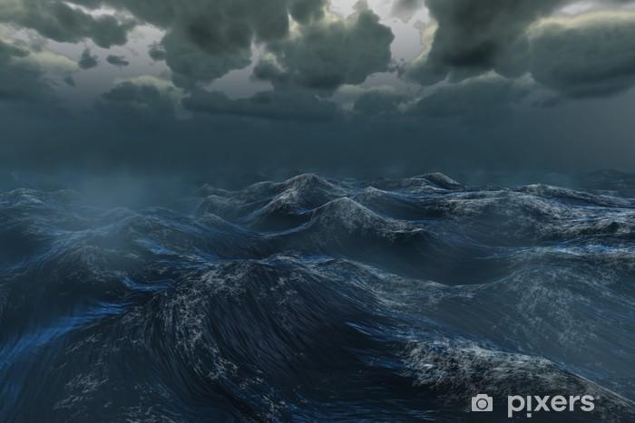 Rough stormy ocean under dark sky Vinyl Wall Mural - Themes