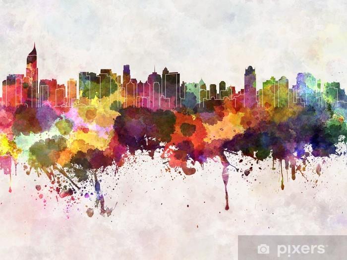 Jakarta skyline in watercolor background Vinyl Wall Mural - Asia
