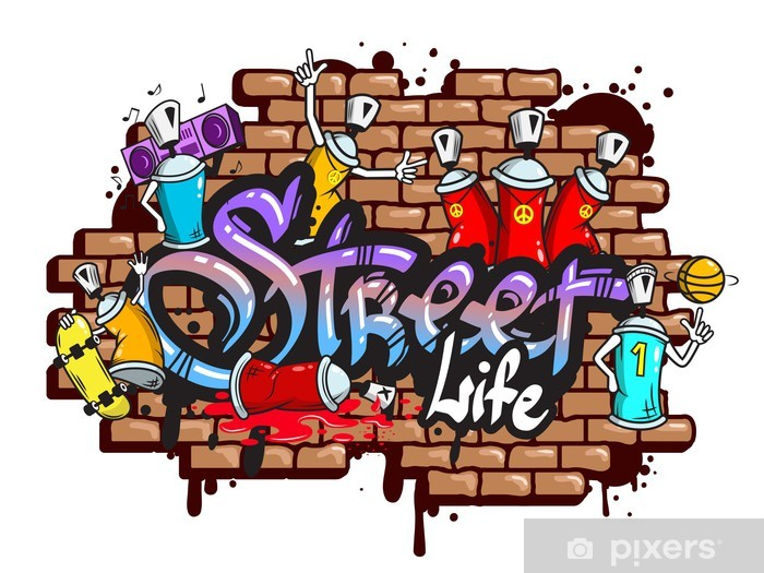 Vinilo Pixerstick Graffiti composición caracteres de palabra - Vinilo para pared