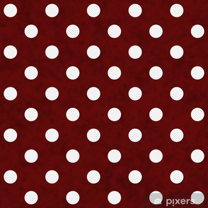 Red and White Large Polka Dots Pattern Repeat Background Vinyl Wall Mural - Themes