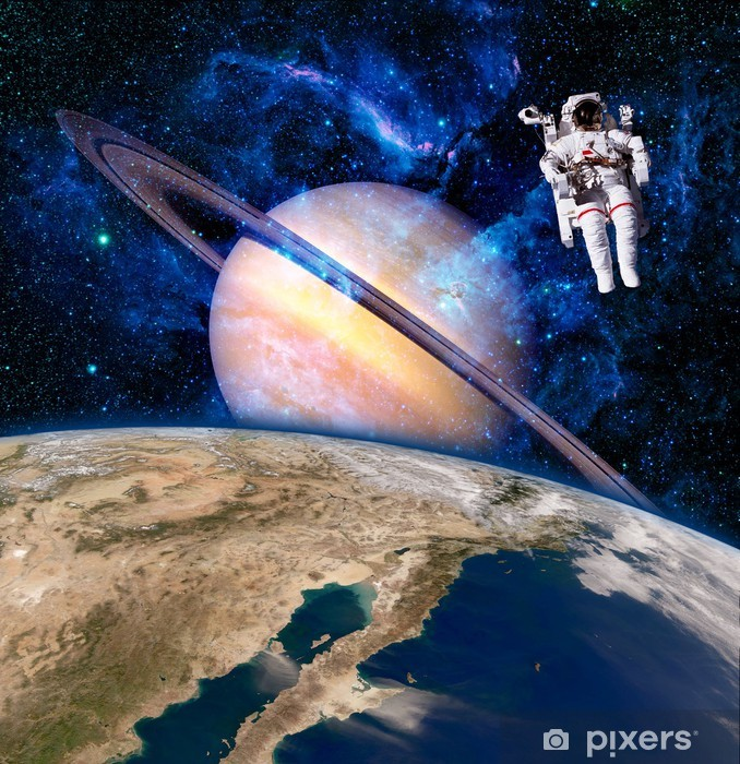 Vinyl Fotobehang Ruimte Astronaut Spaceman - Saturnus