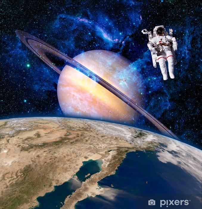 Space Astronaut Spaceman Vinyl Wall Mural - Saturn