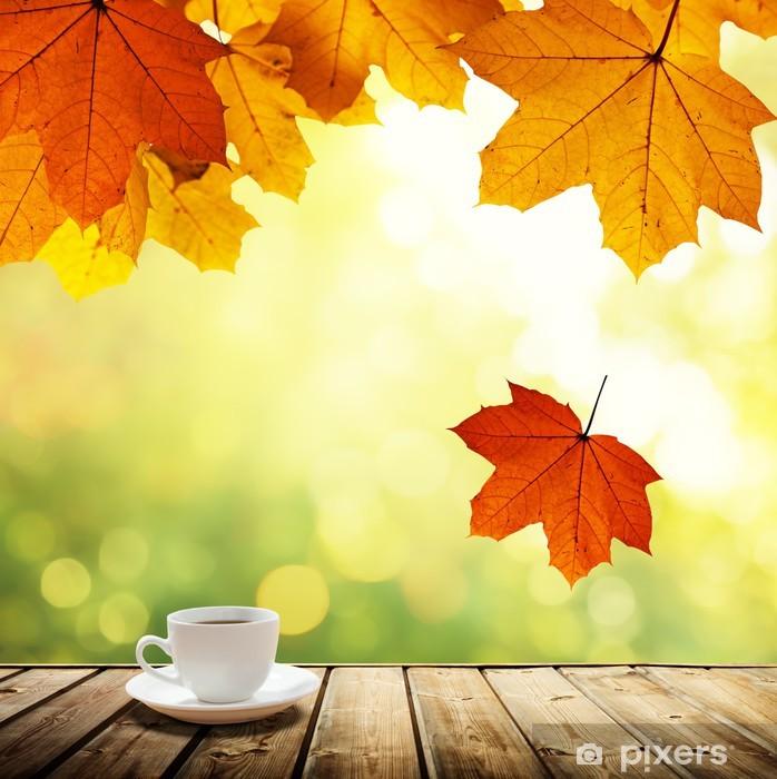 Plakat Filiżanka kawy i jesienny las - Do kawiarni