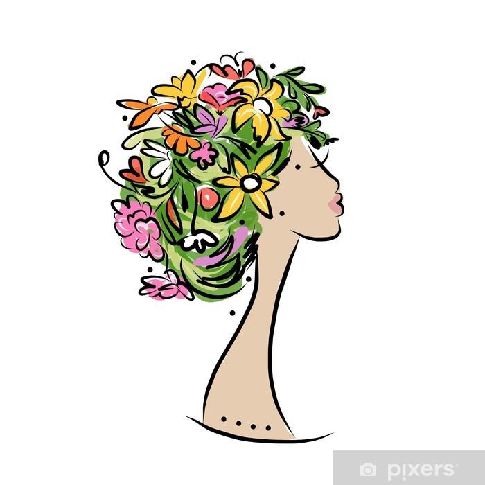 Fototapeta Winylowa Kobieta Profil Z Kwiatów Fryzury Do Projektowania
