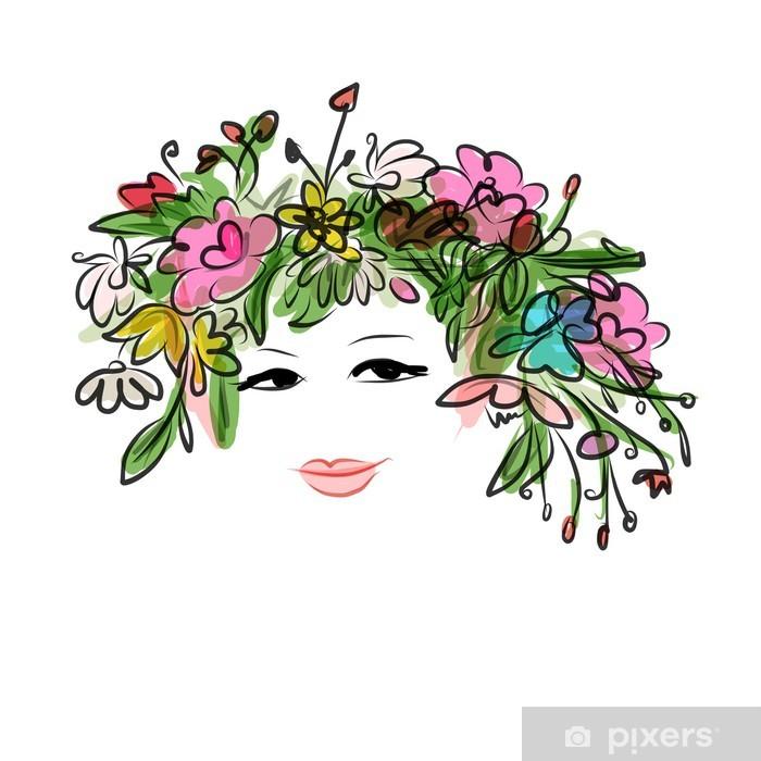 Naklejka Pixerstick Kobieta portret z kwiatów fryzurę dla swojego projektu - Moda