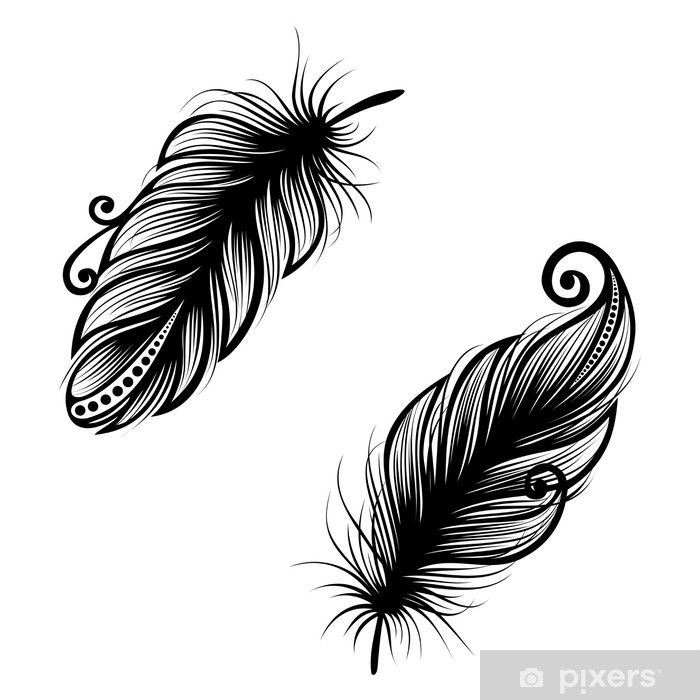 Naklejka Pixerstick Niezrównany użytkowa Feather (grafika), deseniem, Tatuaż - Ptaki