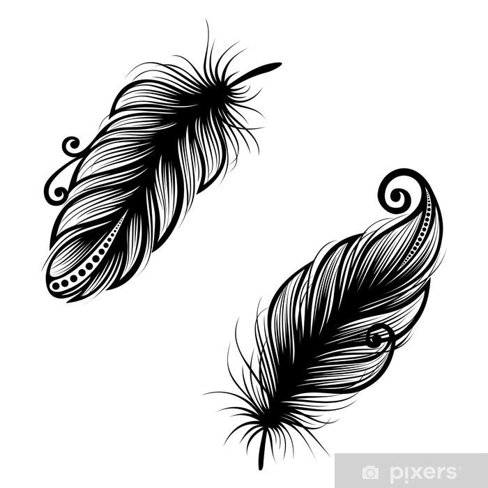 Pixerstick Sticker Peerless decoratieve Feather (Vector), gevormd ontwerp, Tattoo - Vogels