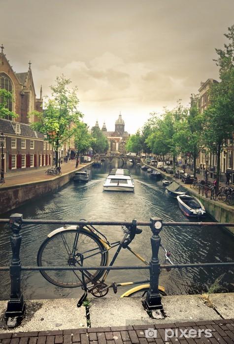 Fototapet av Vinyl Floden i Amsterdam - Cyklar