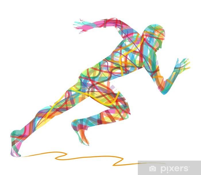 Papier peint vinyle Silhouette abstraite de l'homme en marche -