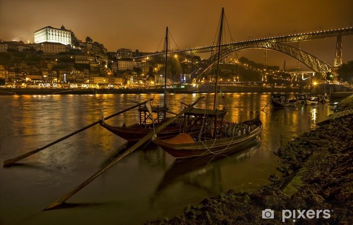 Vinilo Pixerstick Panorama antiguo de Oporto con el río Duero y el puente - Europa