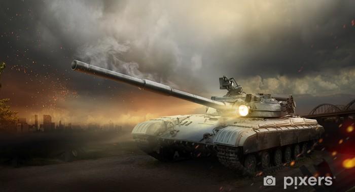 Vinyl Fotobehang Zwaar pantser in het vuur van de strijd -