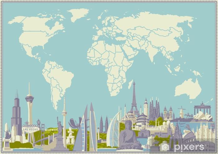 Sticker Pixerstick Vector carte du monde avec des monuments les plus célèbres - Vacances