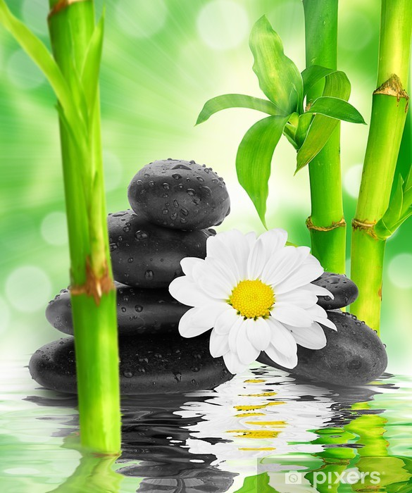 Sticker Pixerstick Spa de fond - pierres noires et bambou sur l'eau - Thèmes
