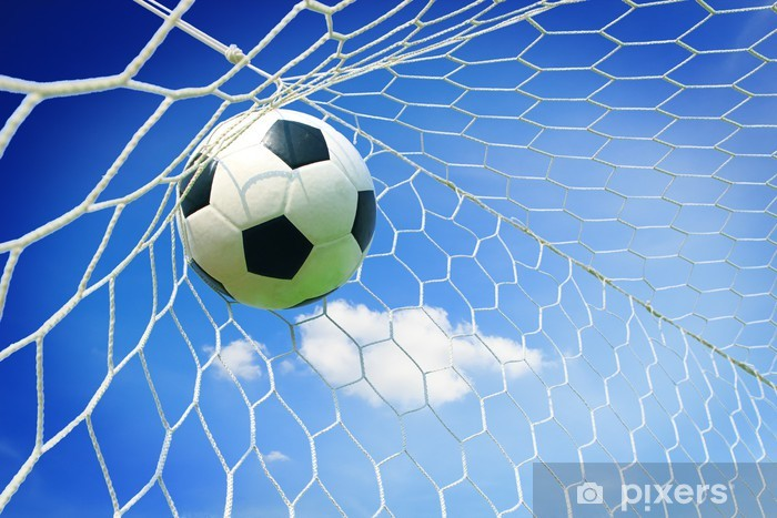 soccer ball in goal with blue sky Vinyl Wall Mural - Team Sports