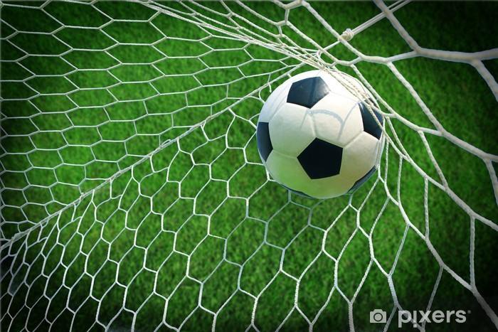Fototapet Fotboll i mål • Pixers® - Vi lever för förändring 734ad054a303b
