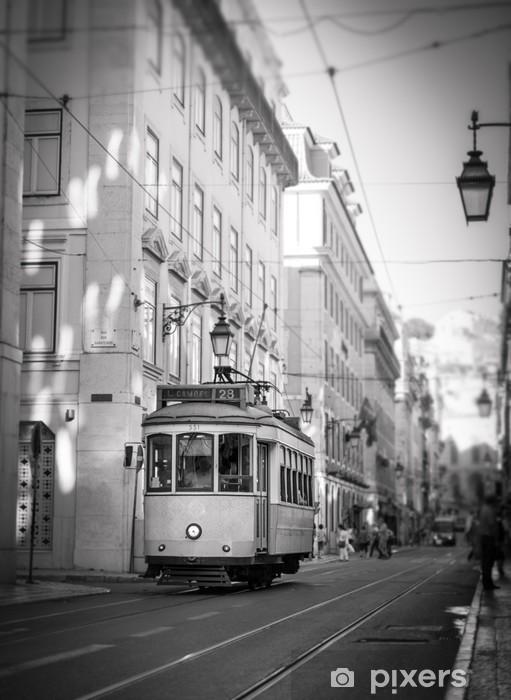 Tram in Lisbon, retro Pixerstick Sticker - On the Road