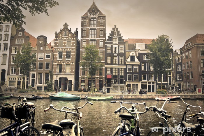 grey day in amsterdam city Pixerstick Sticker - Themes