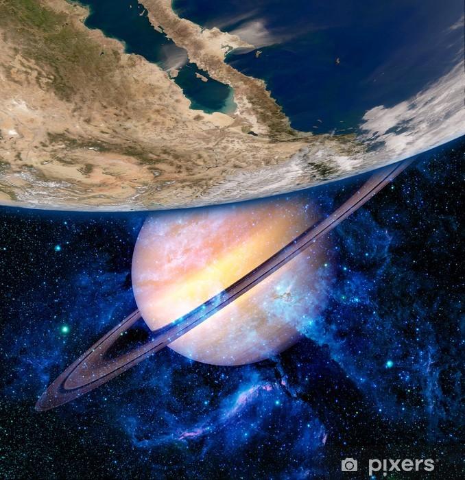 Papier peint vinyle Terre Saturne Planète Surréalisme - Étoiles