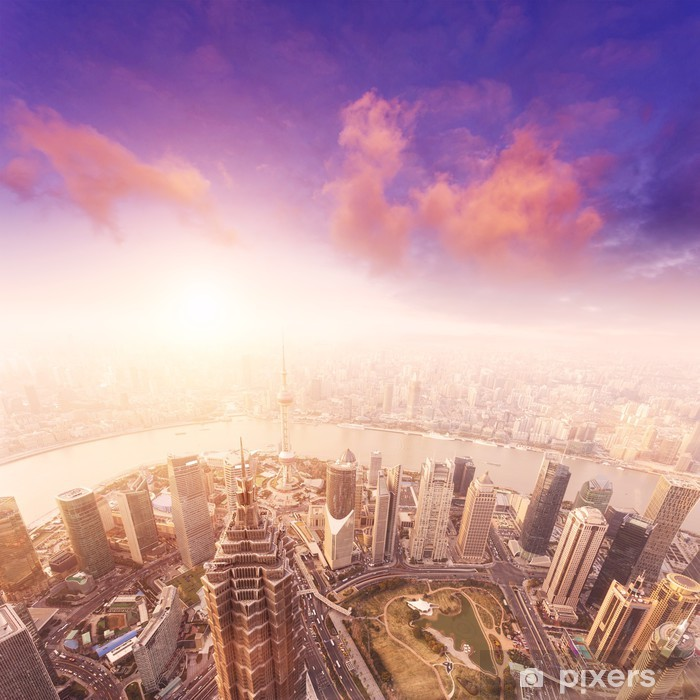 cityscape of shanghai, misty and cloudy Poster -