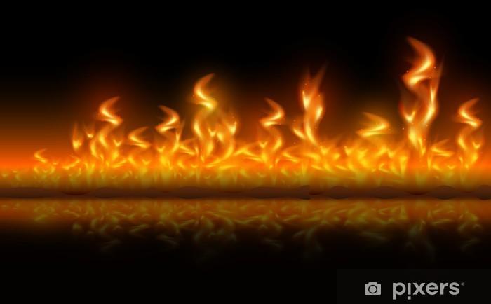 Papier peint vinyle Feu de flammes sur fond noir - Arrière plans
