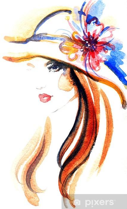 woman portrait .abstract watercolor .fashion background Pixerstick Sticker - Women