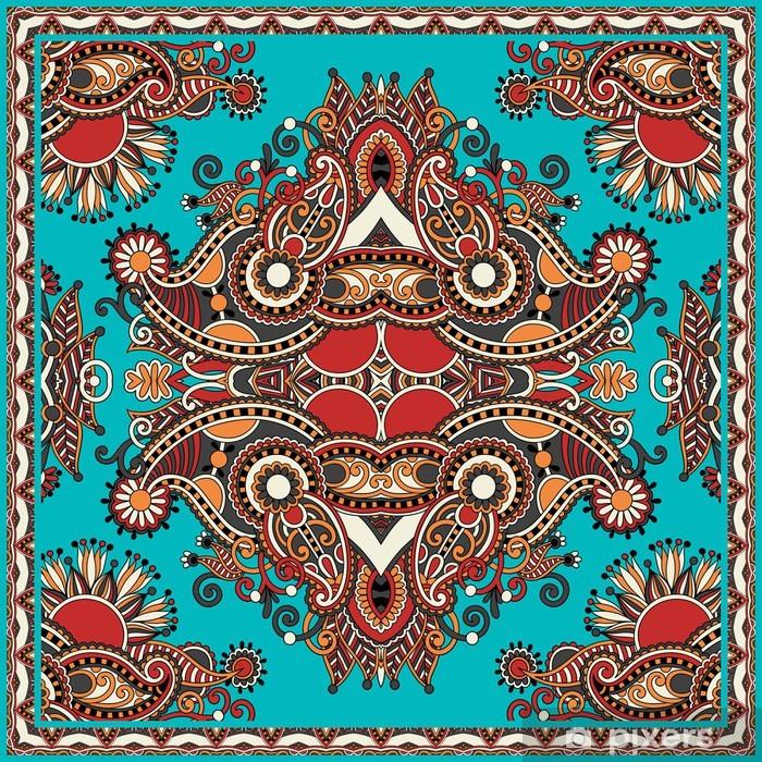 Plakat Tradycyjnych kwiatów ozdobnych Paisley barwna chustka - Style