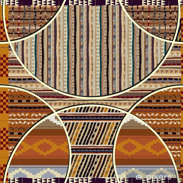 Plakat Bezszwowych tekstur z elementów geometrycznych w stylu afrykańskim - Tekstury