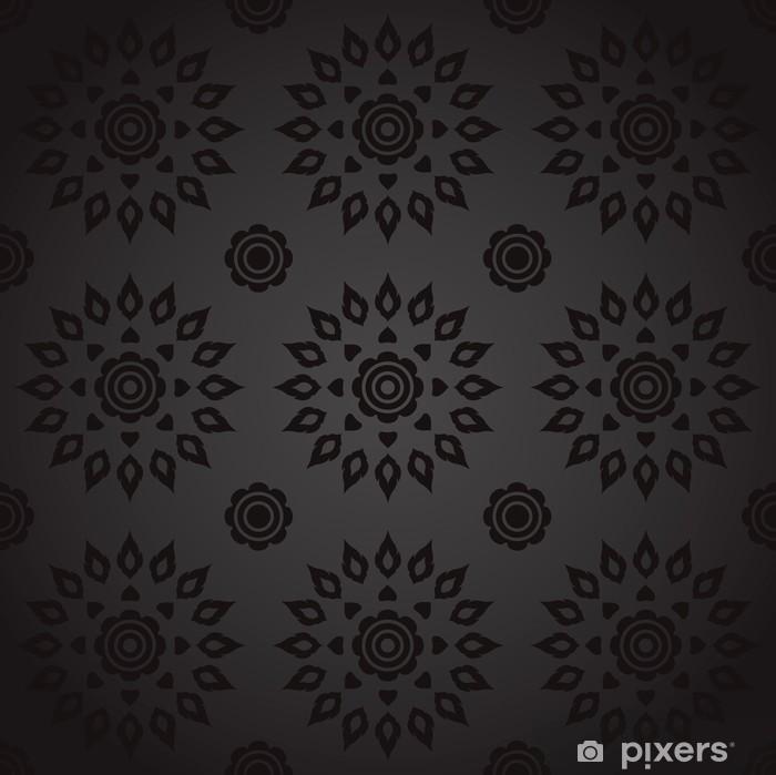 Plakat Tajski sztuka Seamless czarny wzór. - Tła