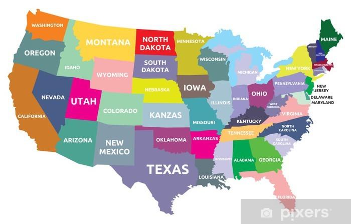 Afwasbaar Fotobehang USA kaart met staten - Thema's
