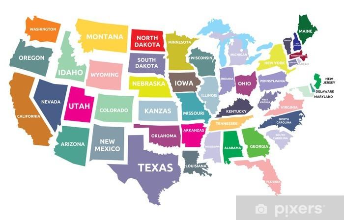 Vinyl Fotobehang USA kaart met staten - Thema's