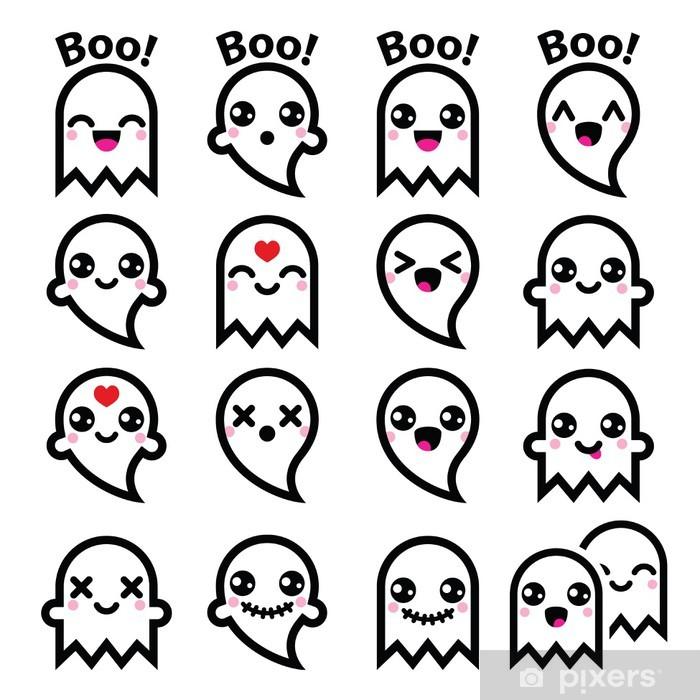 Papier Peint Kawaii Fantôme Mignon De Halloween Icônes Fixés