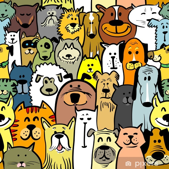 dogs and cats Pixerstick Sticker - Mammals