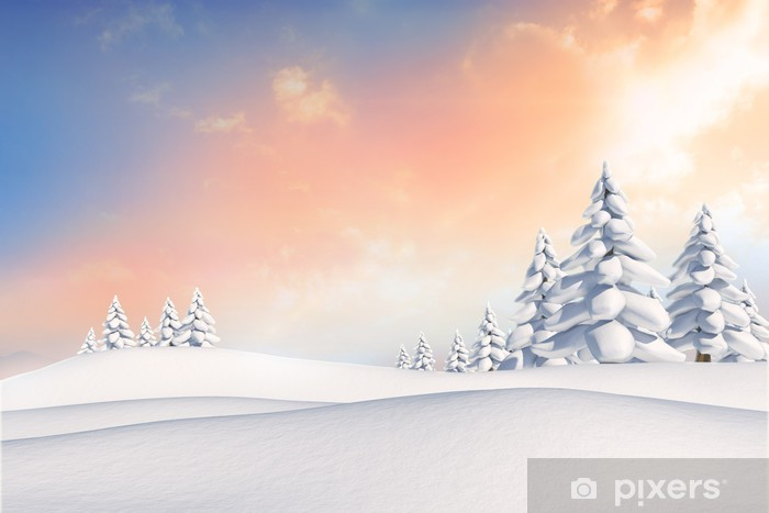 Vinil Duvar Resmi Köknar ağaçları ile karlı manzara - Tatil