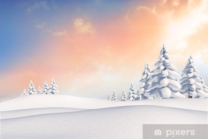 Fototapet av Vinyl Snöiga landskap med granar - Helgdagar