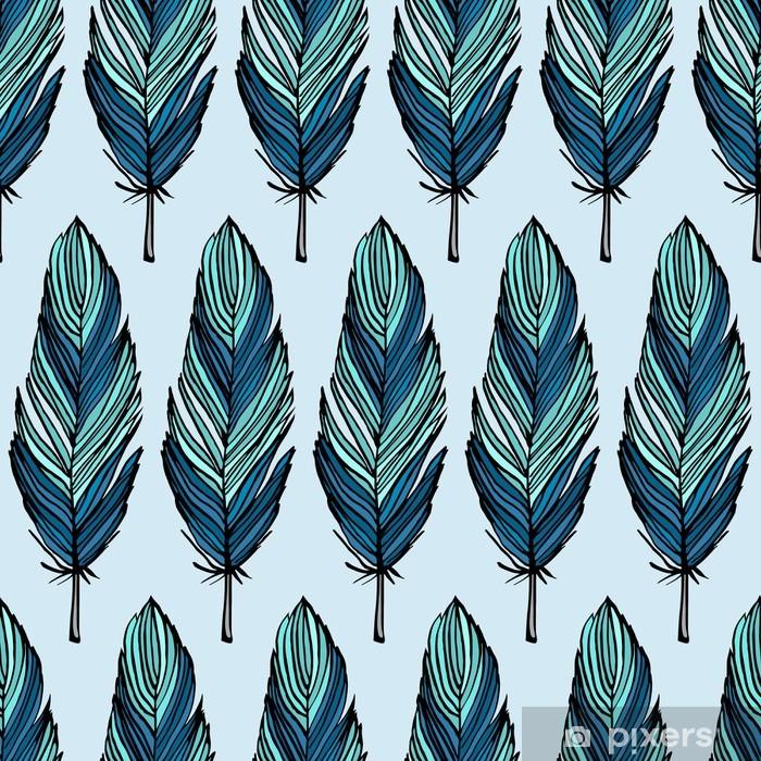 Vinyl-Fototapete Turquoise Feder nahtlose Muster - Hintergründe