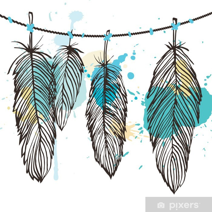 Aquarelle feather set Vinyl Wall Mural - Themes